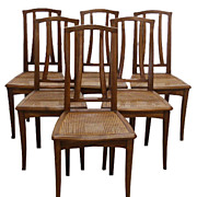 1371 Fabulous Set of Six Art Nouveau Dining Chairs c. 1910
