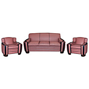 1375 Fabulous 3-Piece Art Deco Cloud Style Parlour Set in Pink & Black Leather