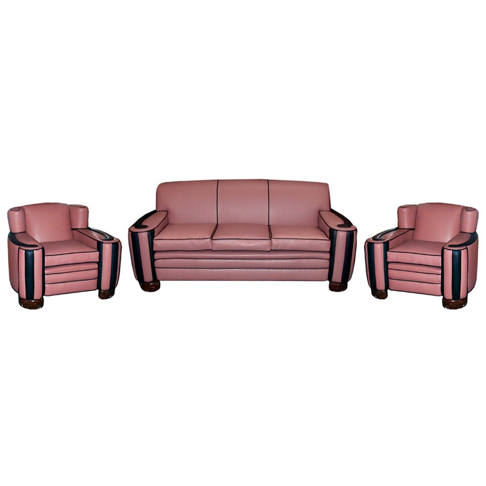 1375 Fabulous 3-Piece Art Deco Cloud Style Parlour Set in Pink & Black Leather
