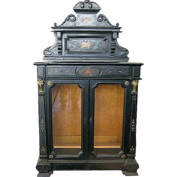 1391 Ebonized & Inlaid Cabinet w/Glass Doors