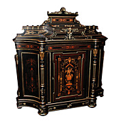 1397 American Victorian Cabinet w/Highly Detailed Inlay & Bronze Capitals