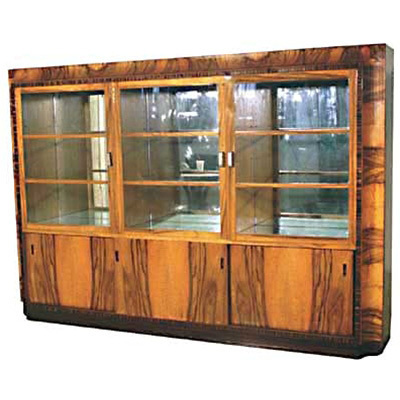 1408 Art Deco Book Case / Display Cabinet with Exotic Brazilian Rosewood Veneers c.1930