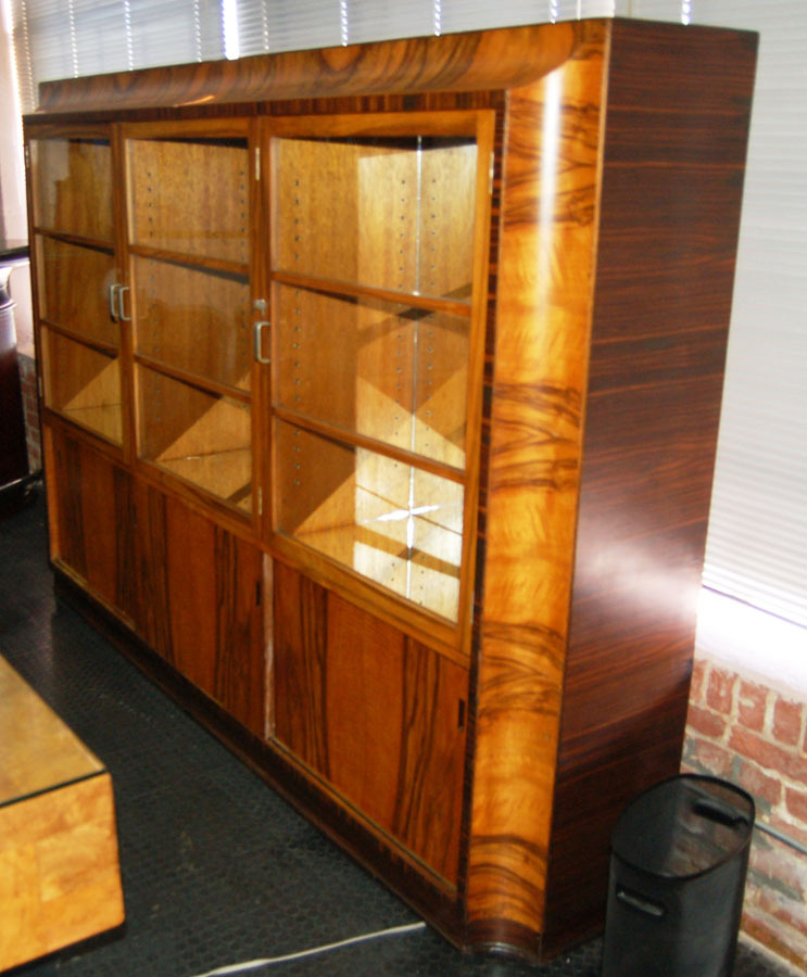 1408 Art Deco Book Case / Display Cabinet with Exotic Brazilian ...