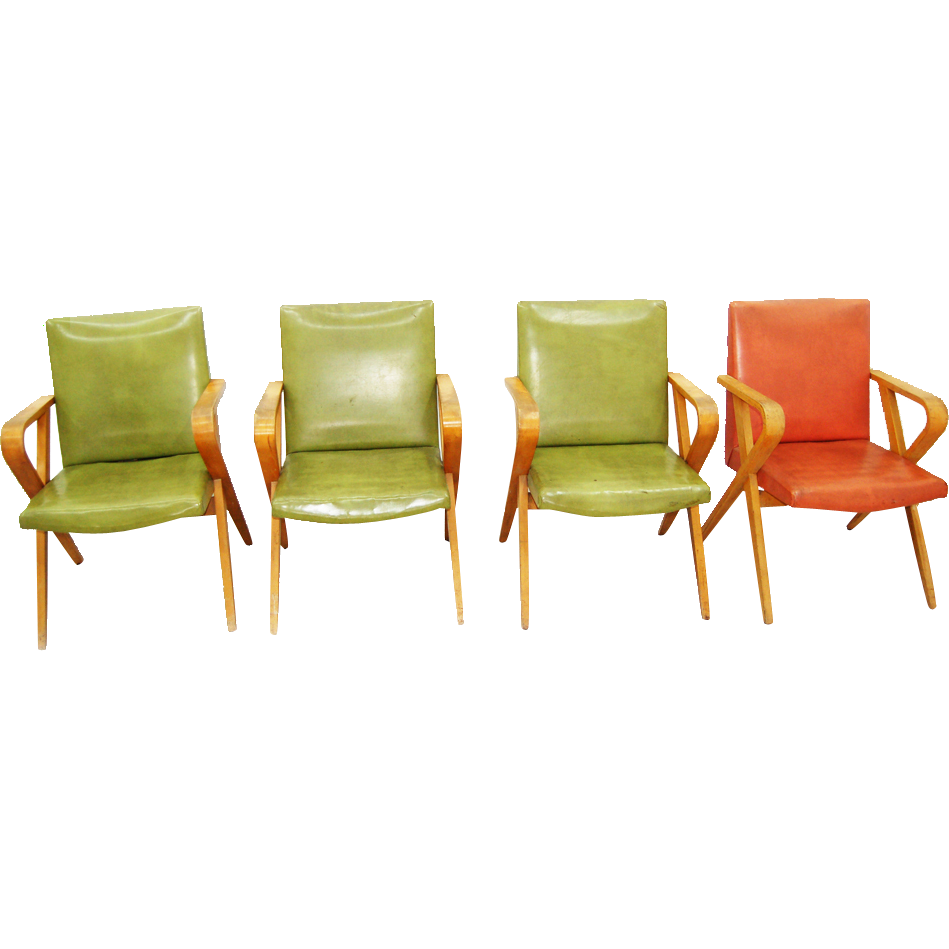 1420 Set of 4 MId-Century Thonet Arm chairs, Vintage 1940