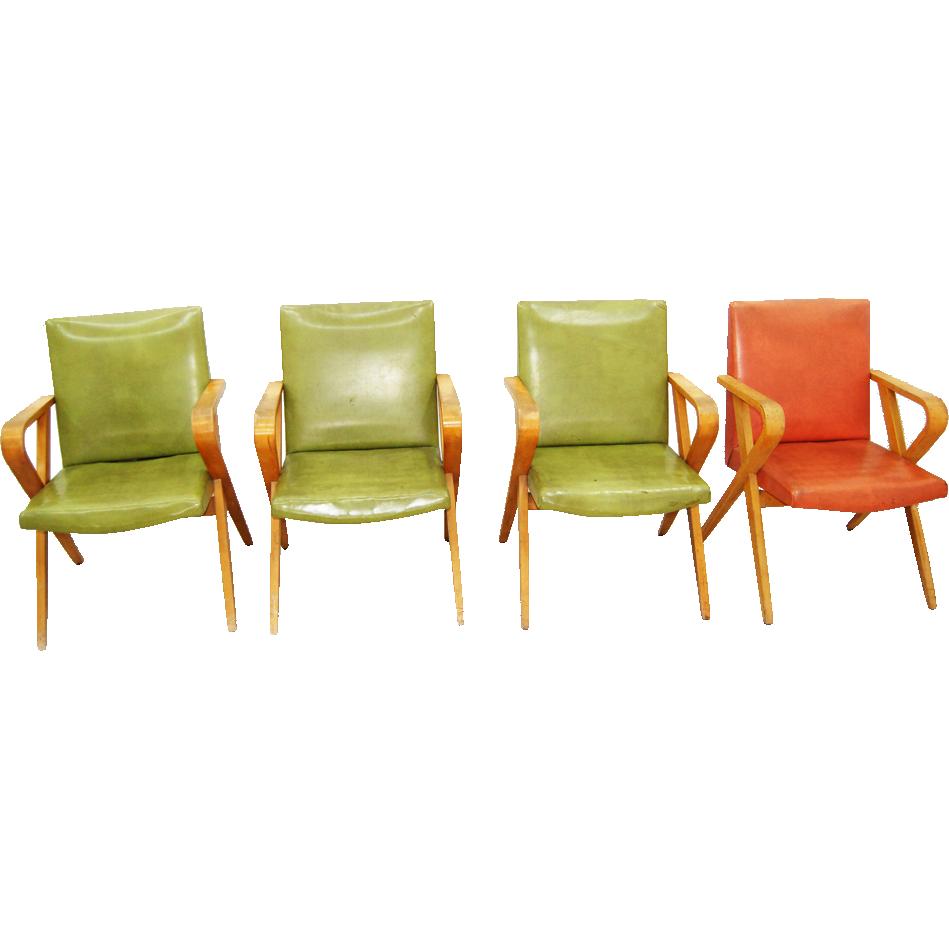 1420 Set of 4 MId-Century Thonet Arm chairs, Vintage 1940
