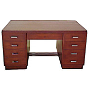 1437 Art Deco Double Pedestal Mahogany Desk c.1930