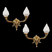 1488 Pair of Bronze Antique 2-Light Wall Sconces