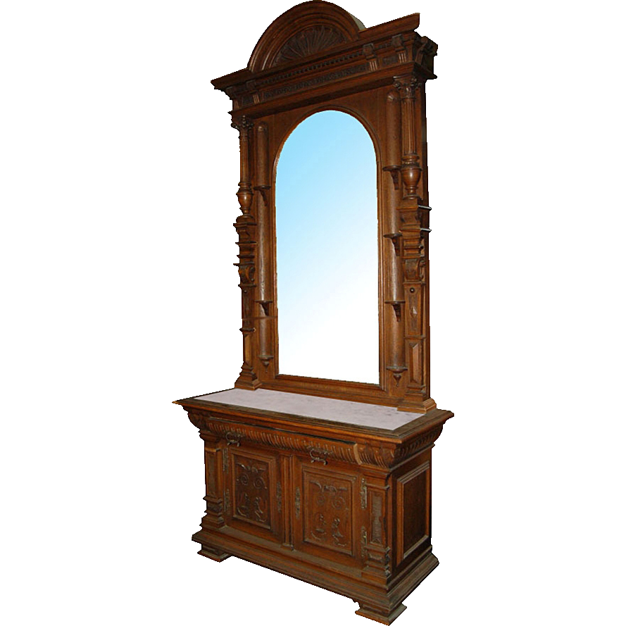 1537 Large Antique Carved American Victorian Mirrored Hall Stand with Marble Top c. 1870