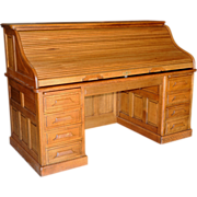 1638 19th C. American Oak Rolltop Desk