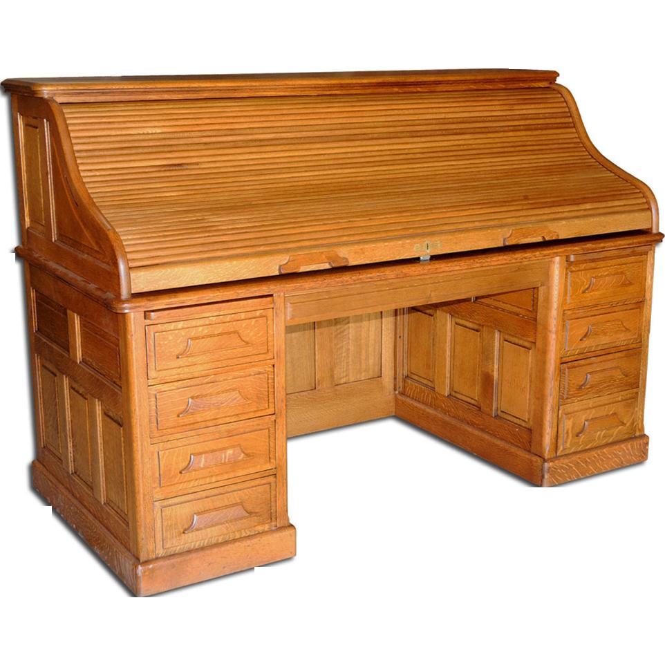 1638 19th C. American Oak Rolltop Desk