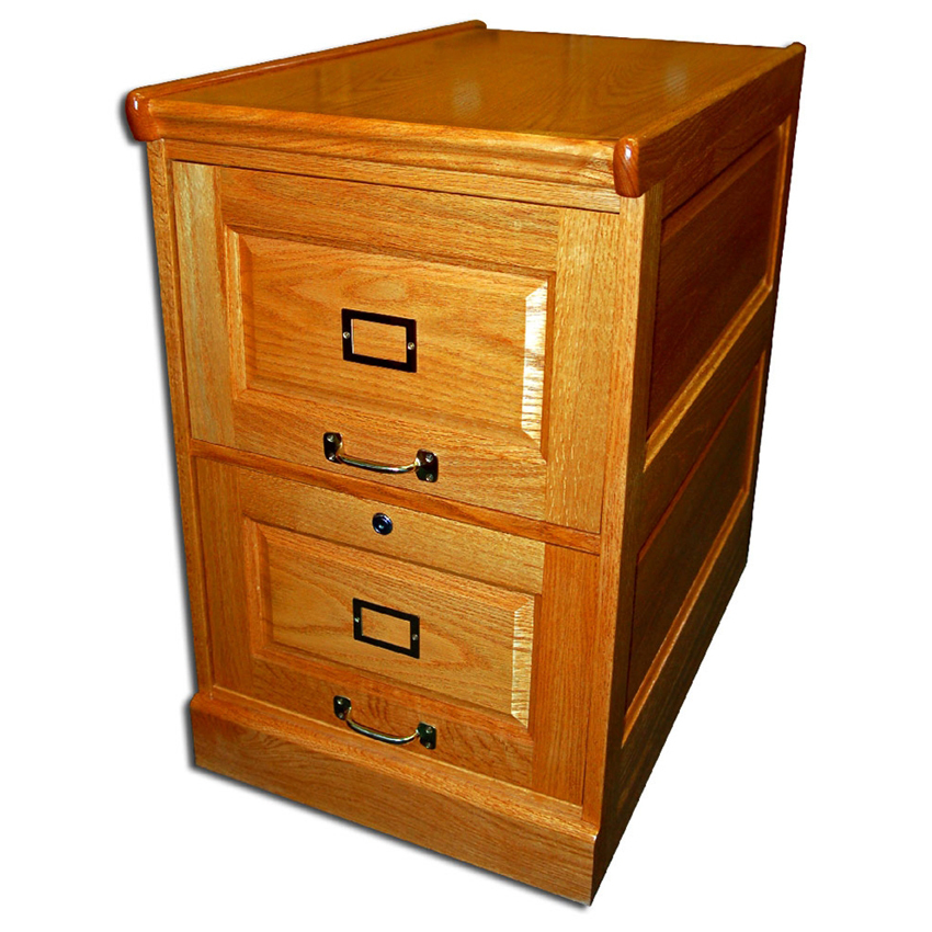 166 Two-Drawer Oak File Cabinet with Raised Side Panels ...