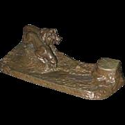 1795 Bronze Lion Inkwell Signed F. Gornik