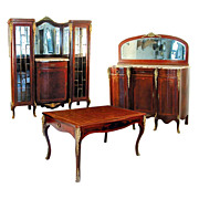 1826 3-Pc. Louis XVI Dining Suite with Ormolu Mounts, Inlay & Marble Tops