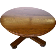 1827 Solid Oak Top Coffee Table c. 1890