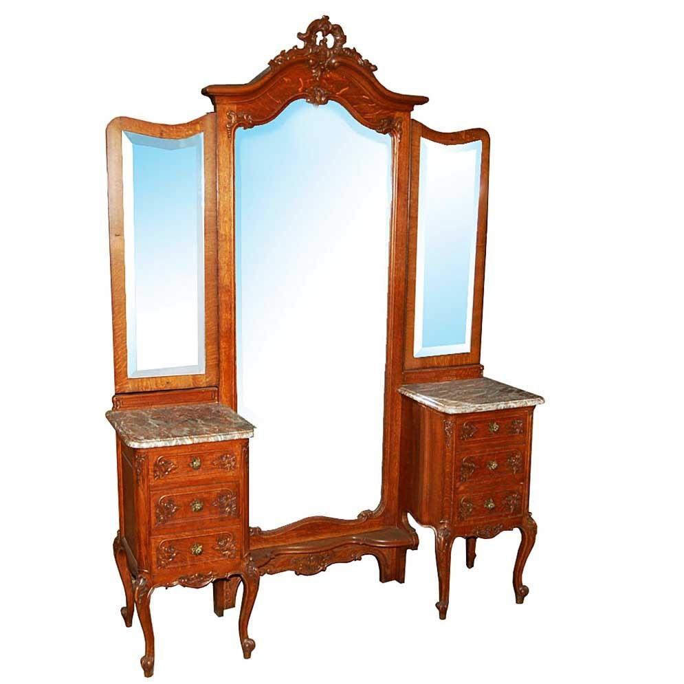 1875 Unusual Antique Louis XV Oak Chevel Mirror with Dresser