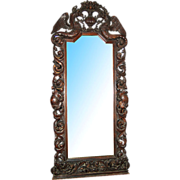 1948 Antique Highly Carved Rococo Revival Hall Mirror