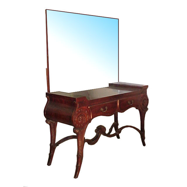 1955 Antique Neo-Classical Mirrored Mahogany Two-Drawer Vanity