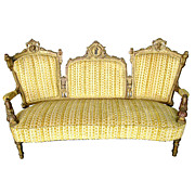 1965 Beautiful 19th C. Victorian Walnut Gilt Sofa with Carved Ladies Heads by Jelliff