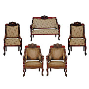 1987 Antique American Five-Piece Carved Mahogany Parlor Suite