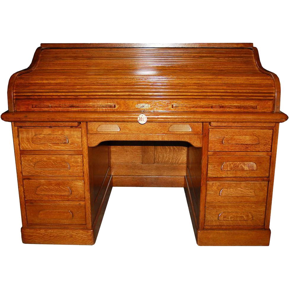 2043 19th C. American Oak Rolltop Desk