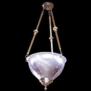 2171 Halophane glass hanging fixture with brass supports