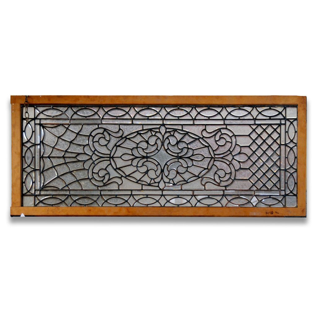 2193 American Turn-of-the-Century Etched Glass Window Panel c. 1910