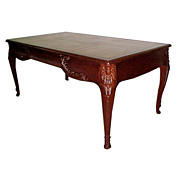 2258 French Mahogany Writing Table with Gold Tooled Leather Top.