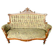 2389 Antique 19th C. Victorian Walnut Sofa with Carved Ladies Heads by Jelliff
