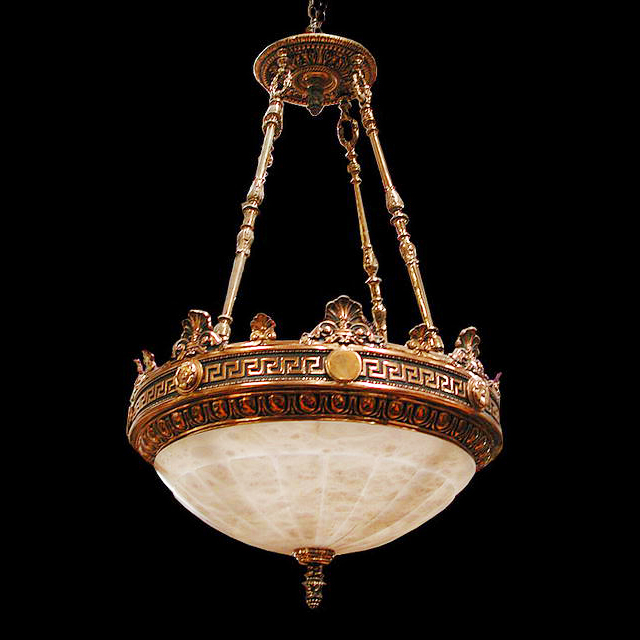 2456 Cast Bronze & Alabaster Justice Chandelier