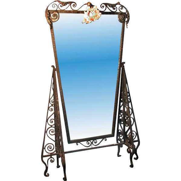 2507 Antique Art Deco Wrought Iron Dressing Mirror