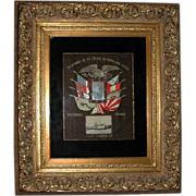 253 American 20th C. Framed Silk Embroidery