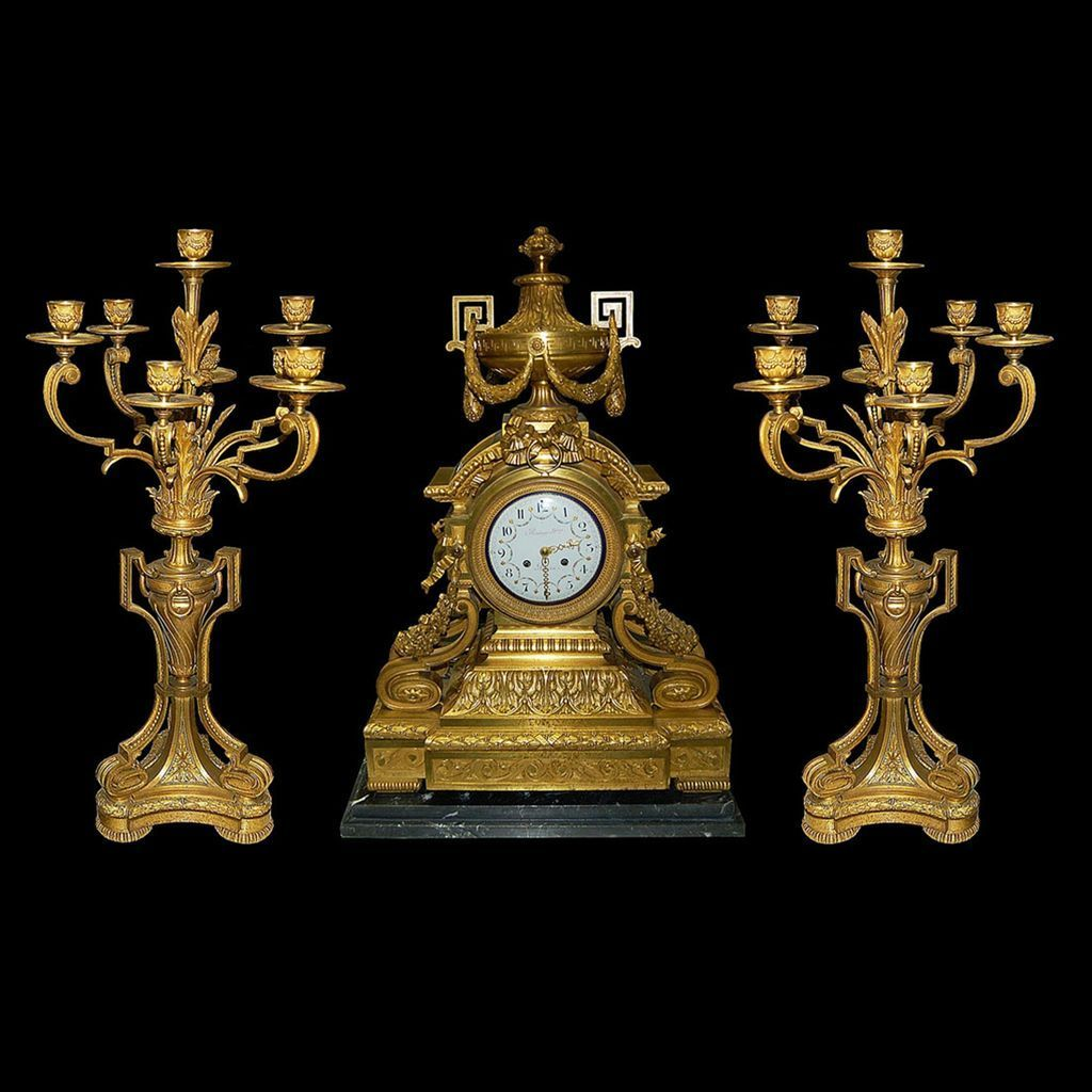 63.2617 French Dore' Bronze 3-Pc. Neoclassical Clock Set