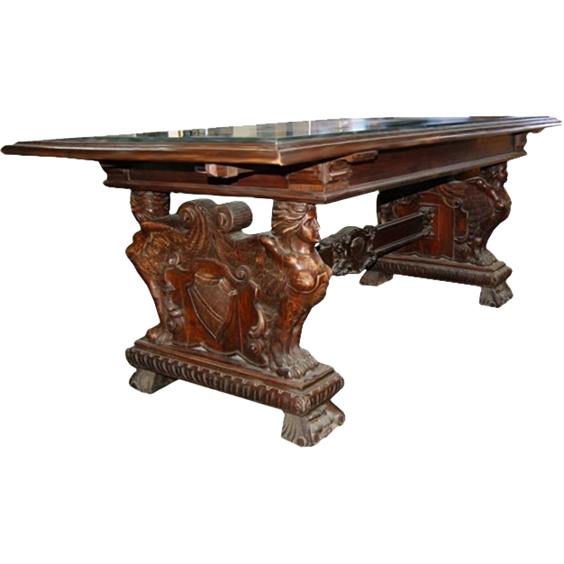 2628 19th C. Victorian Carved Oak Table with Granite Top