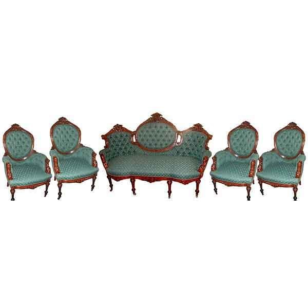 2632 Oversized 5-Pc. Rosewood Antique Parlor Suite by John Jelliff c. 1860
