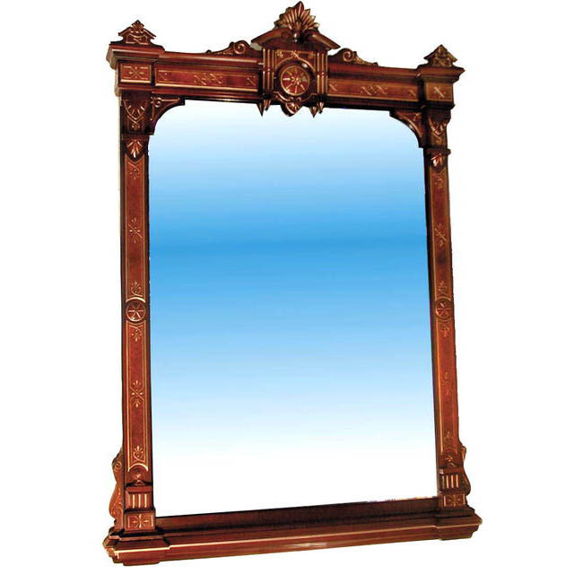 "33.2639 Walnut Wall Mirror w/2"" Bevel and Nice Detailing"