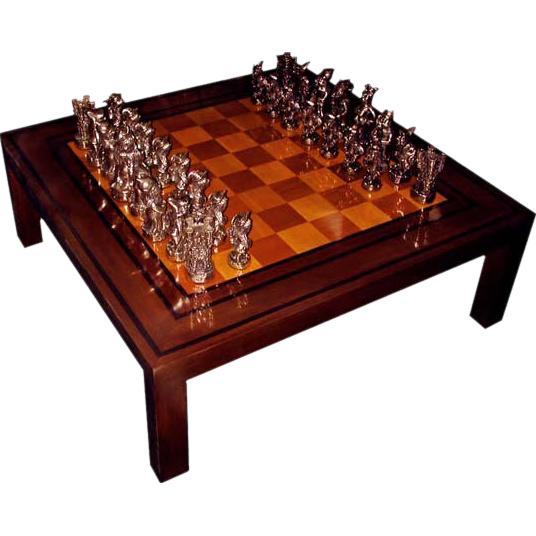 2654 4' Square Game Table with Hand Sculpted Solid Bronze Chess Pieces Signed Dunn