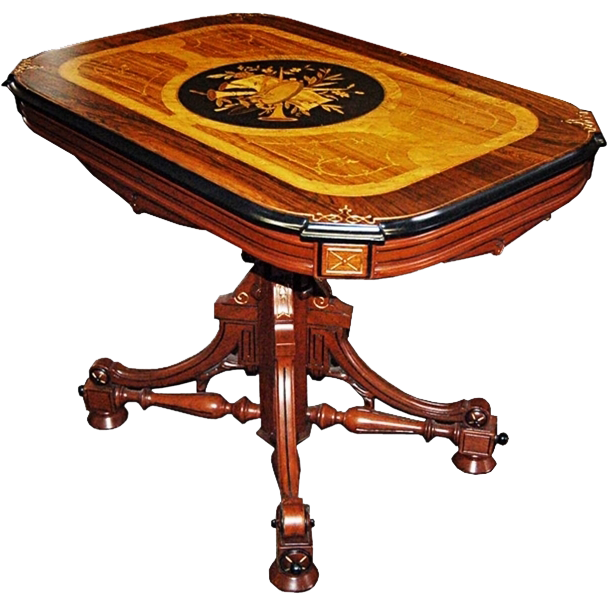 267 19th C. American Renaissance Revival Inlaid Center Table