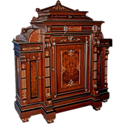 2697 Rosewood Renaissance Revival Marquetry Cabinet