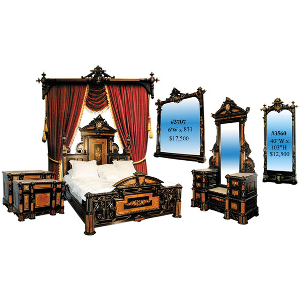 2704 Ebonized & Burl Complete Inlaid Bedroom Suite by Herter Bros.