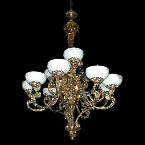 2738 Late 19th c. French Napoleon III Gilt-Bronze and Patinated Bronze 11-light Chandelier