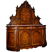 2821 Victorian Burl Walnut Antique Sideboard with Marble Top