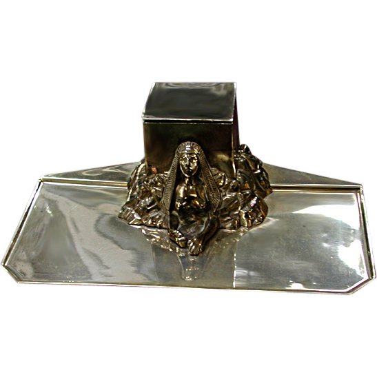 2843 Silver Plate Egyptian Revival Sphinx Inkwell
