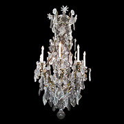 2898 19th Century Baccarat crystal and bronze chandelier w/candles stars, flowers & tear drops