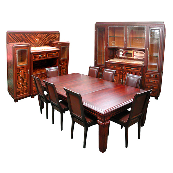3035 Elegant Art Deco 11-Pc. Dining Suite in Ebony de Macassar