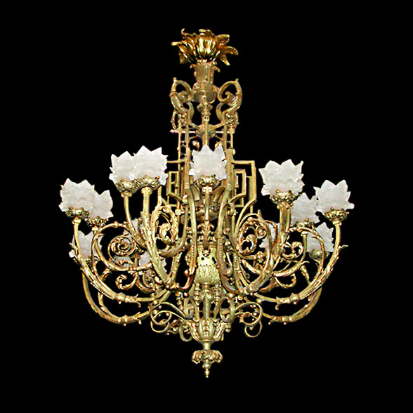 3092 French Bronze Neo-Classical Chandelier