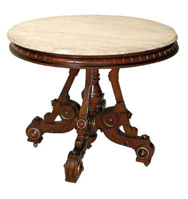 3101A Victorian Walnut Table with Fancy Base & Marble Top