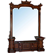 3102 Monumental Renaissance Revival Walnut Hall Mirror