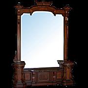 3102 Monumental Renaissance Revival Walnut Hall Mirror