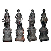 "3126 Set of Four Cast Iron Garden Figures - ""The Four Seasons"""