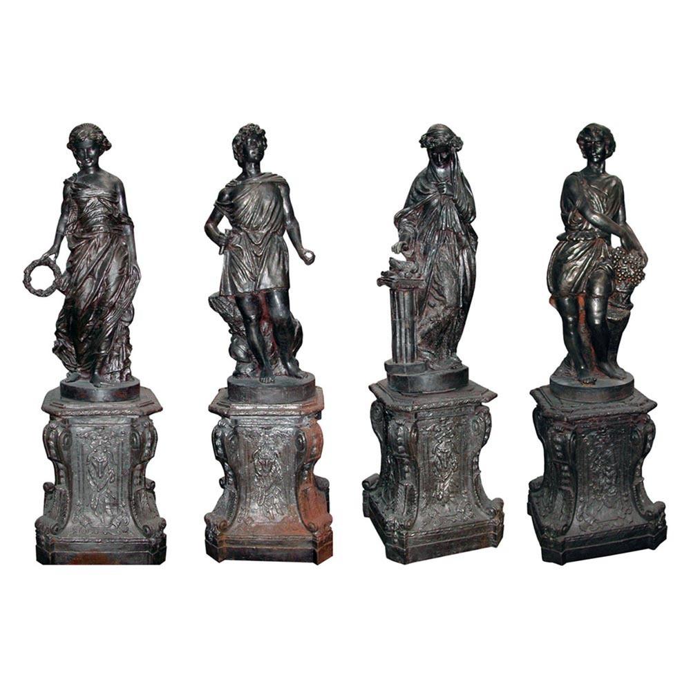 "3126 Set of Four Cast Iron Garden Figures - ""The Four Seasons"""
